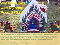 Two Elves with Toy shop yard decor in Fort Polk, Louisiana
